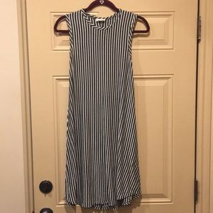 Pinc - Gray and white vertical striped dress M